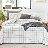 Ntyaxin Home Duvet Cover Set 3 Piece White Black Buffalo Plaid (1 Duvet Cover +2 Pillowcase) Grid Comforter Cover Ultra Soft Microfiber Bed Quilt Cover Zipper Plaid White 3, King 104x90 inches