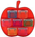 不二貿易 プラスチック 収納 ケース セットタイプ アップル 0.14Lx7 カラフル マルチカラー(クリア)R.U.BOX (幅22.5x奥行8cm) 20734