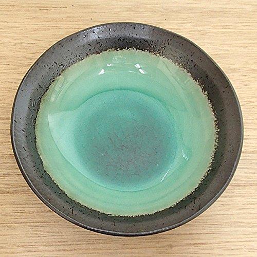 ボール 深海グリーン 5.0浅鉢 黒 煮物鉢 陶器 美濃焼 業務用食器 3a272-3-32d