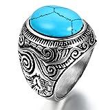 JewelryWe メンズ ステンレス リング 指輪 ターコイズ (トルコ石) シルバー ブルー 青 バイク型 ビンテージ (ギフトバッグを提供)