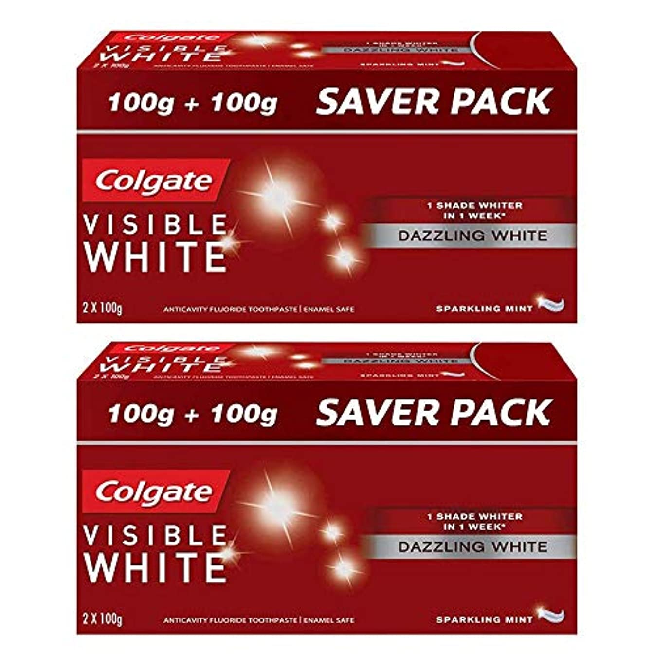 出版器官ドラッグColgate Visible White Dazzling White Toothpaste, Sparkling Mint - 200gm (Pack of 2)