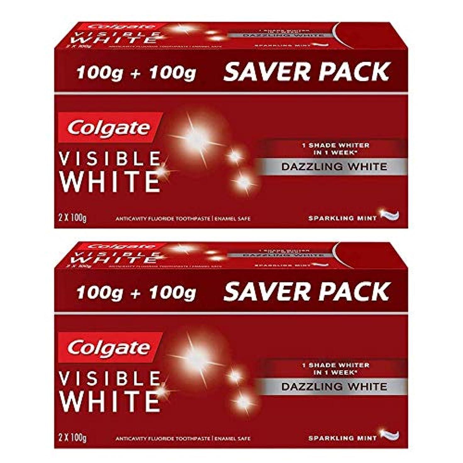 逆説ジョージスティーブンソン立法Colgate Visible White Dazzling White Toothpaste, Sparkling Mint - 200gm (Pack of 2)