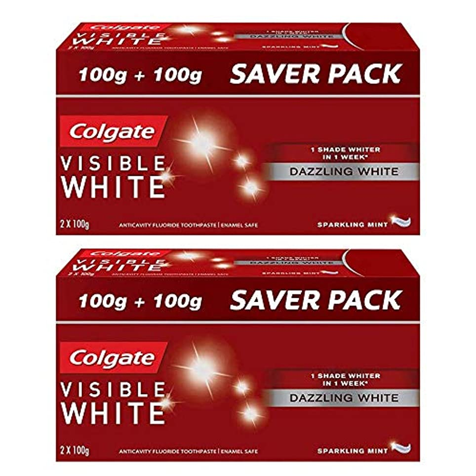 エンティティとても多くの暗黙Colgate Visible White Dazzling White Toothpaste, Sparkling Mint - 200gm (Pack of 2)