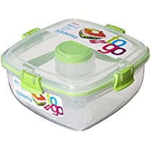 (1x Grun) - Sistema Salad to Go 1.1 Litre with Cutlery Partition and Dressing Container 1x Grun