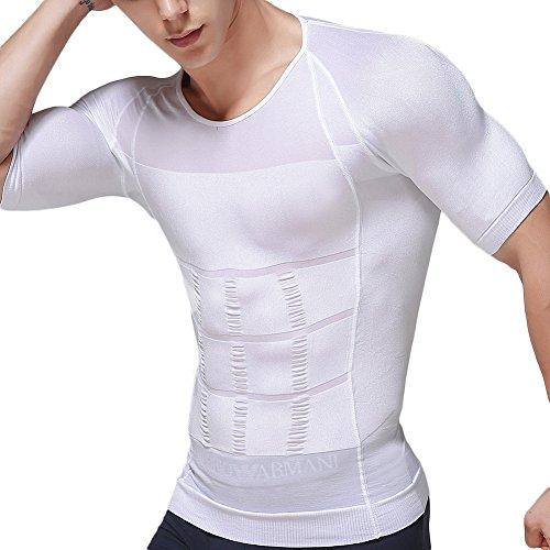 加圧インナー メンズ 加圧シャツ 加圧インナーシャツ 加圧トレーニングウェア Uネック 白 L