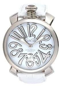 [ガガミラノ]GaGa MILANO 腕時計 マニュアーレ48mm ホワイト文字盤  カーフ革ベルト 手巻き スイス製 5010.10S-WHT メンズ 【並行輸入品】