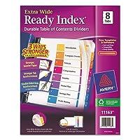 extra-wide Readyインデックスディバイダー、8-tab、91/ 2x 11、アソートカラー、8/セット、合計36ST , Sold as 1カートン