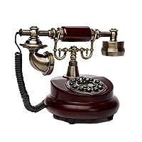 ホームランドライン創造的な古い回転ダイヤルの電話ボタンハンズフリー発光の電話(機械ダブルベル+レトロな布のロープ)ヨーロッパの牧歌的な電話のファッションパーソナリティのリビングルームの装飾 (Color : Red-brown, Size : 25*20cm)