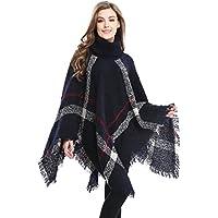 Bellady Women's High Collar Batwing Tassels Poncho Cape Winter Knit Sweater Cloak