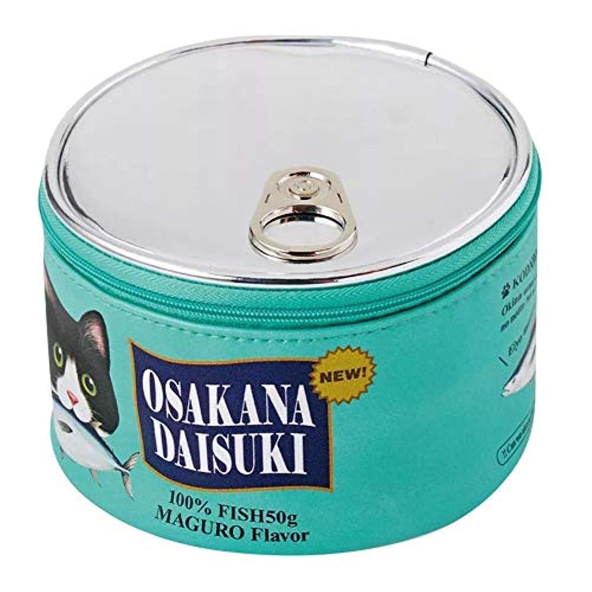 汚染予想する宇宙VICOODA 化粧ポーチ 猫缶ポーチ 化粧品収納 猫柄 かわいい おしゃれ レディース 持ち運び 旅行/出張用 (グリーン)
