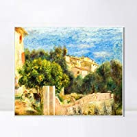 "INVIN ART Framed Canvas Giclee Print Art LA MAISON DE L'ARTISTE A CAGNES by Pierre Auguste Renoir Wall Art Living Room Home Office Decorations(White Slim Frame,32""x32"")"