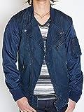 インディゴ×ネイビー M MA-1 メンズ ライダース ジャケット デニム ライダースブルゾン intheattic メンズアウター メンズブルゾン デニムジャケット ma-1 ma1 MA1 カラー インディゴ 藍色 白 ホワイト カーキ 緑色