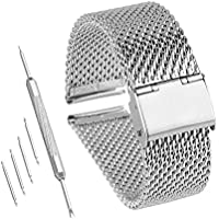 Bewish 18mm-24mm Stainless Steel 1mm Mesh Watch Band Replacement Strap Adjustable Hook Buckle Silver (24mm)