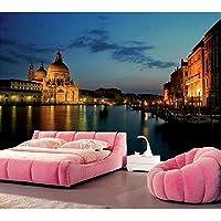 Xbwy イタリア夜の運河ヴェネツィア都市の壁紙、レストランバーのリビングルームテレビの壁の寝室の3D写真の壁紙の壁画-280X200Cm