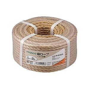 TRUSCO 麻ロープコイル巻きφ6×30mコイル巻
