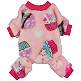 Fitwarm Sweet Cupcake Pet Clothes for Dog Pajamas PJS Coat Soft Velvet Pink Small