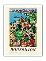 ルシヨン - コリウール、フランス - フランス国有鉄道 - ビンテージな鉄道旅行のポスター によって作成された フランソワ・デノワイエ c.1952 - アートポスター - 23cm x 31cm