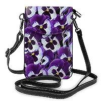 多機能レザー電話財布、軽量スモールショルダークロスボディポーチ、女性用調節可能ストラップ付きトラベルバッグ、パープルパンジー