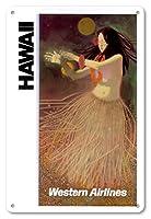 22cm x 30cmヴィンテージハワイアンティンサイン - ハワイ - 欧米の航空会社 - ハワイのフラダンサー - ビンテージなハワイの旅行のポスター c.1960s