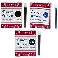 PILOT パイロット ナミキ IC50 万年筆インクカートリッジブラック、ブルー、ブルー/ブラック( 69100–69101–69102)