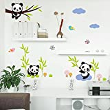 Sungpunet Naughty Pandas Birds Butterfly Tree Wall Stickers for Kids Room Baby Gift Nursery Home Decor Animals Decals Mural Art Cartoon