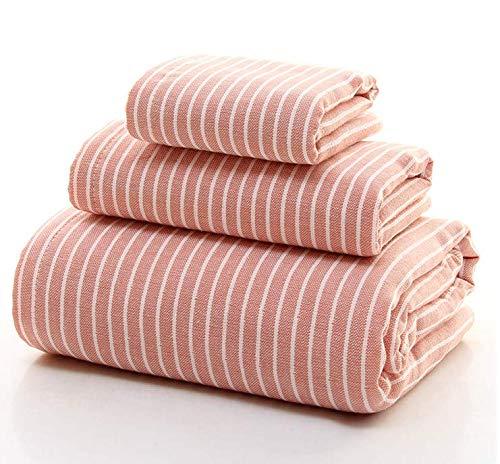 SAKALA タオルセット バスタオル フェスタオル ハンドタオル 同色3枚セット 綿100% ガーゼタオル やわらか 吸水 軽量 速乾 熱中症対策 男女兼用 縞模様 タオル (P)