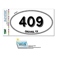 409 - グローブス, TX - テキサス州 - 楕円形市外局番ステッカー