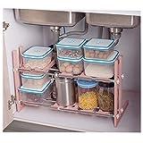 収納ラック キッチン 伸縮タイプ キッチンラック 洗面台下 スペース ラック シンク下フリー ラック 押入れ整理棚 (ピンク)