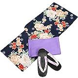 浴衣 レディース 黒紺色 牡丹 桜 コスパゆかた 3点セット N2753
