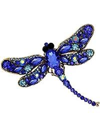 Echana 女性 可愛い ブローチ 蜻蜓 ラインストーン 輝く上品 ピン 胸飾り ジュエリー アクセサリー スカーフ 帽子 雰囲気 結婚式 宴会 パーティー お祝い プレゼント