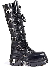 New Rock Shoes - Black Leather Laced Up High Boots