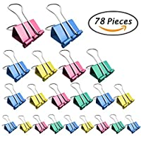 Selizo 78 Pcs Binder Clips with Assorted Sizes and Colors [並行輸入品]