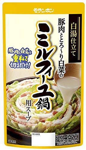 モランボン 豚肉ととろーり白菜のミルフィーユ鍋用スープ 750g×10個