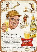 なまけ者雑貨屋 Miller Beer Pheasant Hunting アンティーク風 デザインボード ブリキ看板 メタル (30×40cm)
