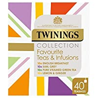 [Twinings ] パックあたりトワイニングのお気に入り&点滴ティーバッグのセレクトギフトパック40 - Twinings Favourite & Infusions Tea Bags Selection Gift Pack 40 per pack [並行輸入品]