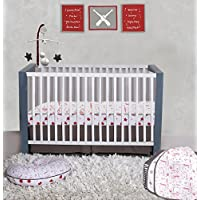 Bacati Baseball 100% Cotton 3 Piece Boys Crib Set with 4 Layer Lux Blanket/Fitted Sheet/Skirt Red/Grey [並行輸入品]