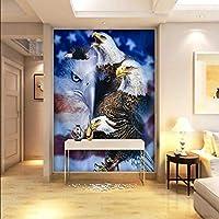 Xueshao 3D写真の壁紙3Dステレオ壁紙イーグルオイルリビングルームの壁紙ロビースタジオ壁画-200X140Cm