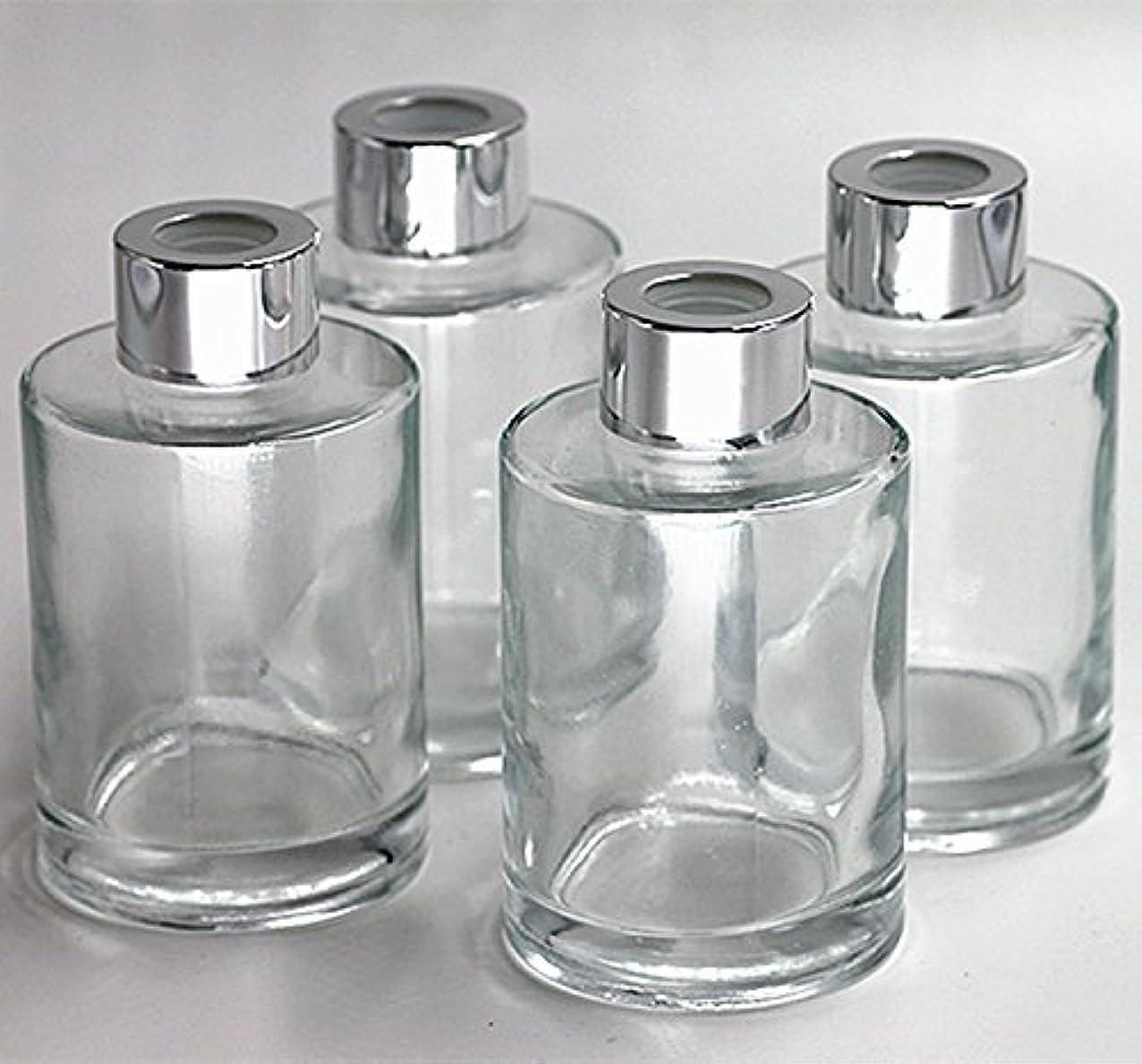 買う定規アレルギー性Feel Fragrance リードディフューザー用 リードディフューザーボトル 容器 透明 蓋付き 4本セット120ML円形 (GB-120)