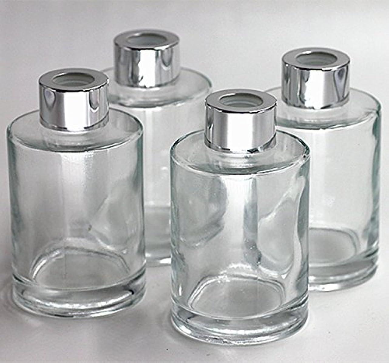 風変わりなストリーム原始的なFeel Fragrance リードディフューザー用 リードディフューザーボトル 容器 透明 蓋付き 4本セット120ML円形 (GB-120)