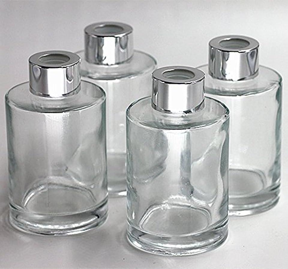 デッキ考えた土曜日Feel Fragrance リードディフューザー用 リードディフューザーボトル 容器 透明 蓋付き 4本セット120ML円形 (GB-120)