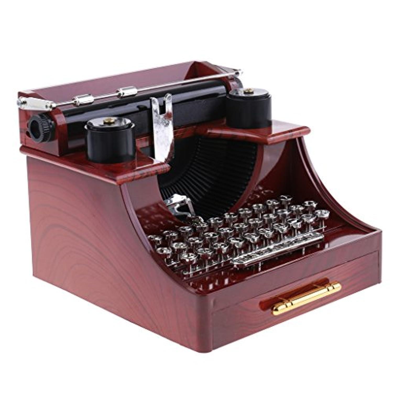 Perfk ヴィンテージ クリエイティブ タイプライター オルゴール 時計仕掛け 音楽ボックス おもちゃ 装飾品