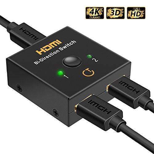 HDMI 切替器 Gritin 双方向 HDMI セレクター /スイッチ 金メッキ 4k 1080p/3D 分配器 (入力2出力 /2入力1出力) 切り替え 電源不要