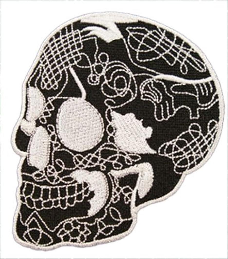 部分的に居眠りする補足刺繍アイロンカスタムワッペン【スカルマン・SUKULL MEN】ブラックマン