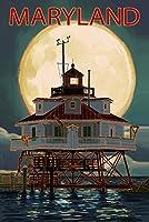 チェサピークベイ、メリーランド州–Lighthouse and Full Moon 12 x 18 Signed Art Print LANT-86132-708