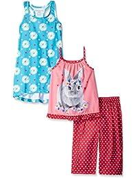Komar Kids Girls ' 3 Piece Sleepwear Set Rabbitパンツセットフローラル柄ガウン