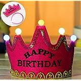 HuaQingPiJu-JP プリンスクラウンケーキLEDグローフープドレス帽子誕生日パーティー用品(ローズ赤、誕生日おめでとう)