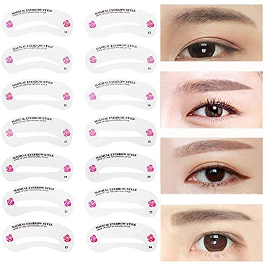 アンソロジーしゃがむ部分24種類 眉毛テンプレート24枚セット 太眉対応 24パターン 眉毛を気分で使い分け 眉用ステンシル