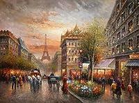 100%手描き印象派パリアートストリートシーン&エッフェル塔キャンバス油彩画のホーム壁アートby Well Knownアーティスト、フレーム入り、ハングする準備