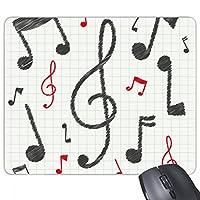 音楽の表記法を組み合わせたカラフルなパターン 長方形のノンスリップゴムパッドのゲームマウスパッドプレゼント