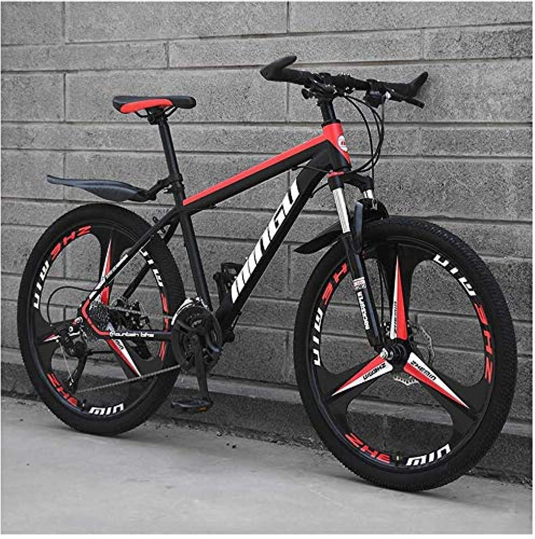 ベーシック幸運なことにアジア人24インチメンズマウンテンバイク、高炭素鋼ハードテイルマウンテンバイク、フロントサスペンションアジャスタブルシート付きマウンテン自転車,Black red 3 spoke,21 Speed